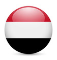 Round glossy icon of yemen vector image vector image