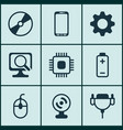 set of 9 computer hardware icons includes web vector image vector image