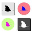 shark fin flat icon vector image vector image