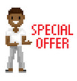shooting man special offer pixel game vector image