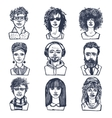 sketch people portraits set vector image vector image