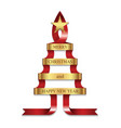 stylized ribbon christmas tree with golden star vector image