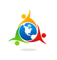 teamwork group world people unity logo vector image vector image