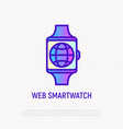 web smartwatch globe on device screen line icon vector image vector image