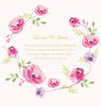 wedding card sweet pink flower border vector image vector image