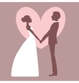 wedding invitation silhouette bride and groom vector image