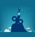 woman looking through telescope standing on top vector image
