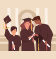 young graduates holding diplomas during college vector image