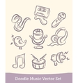 music set doodle isolated on white background vector image