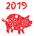 2019 floral pig vector image vector image