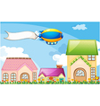 A balloon above the village with an empty banner vector image vector image