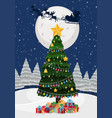 a christmas tree at night vector image vector image
