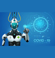 ai robot mediic with corona virus covid19 19covid vector image