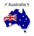 australia map with flag isolated against white vector image vector image