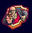 bald killer mascot logo vector image vector image