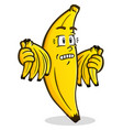 banana cartoon character holding bunches vector image vector image