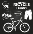 bicycle shop on blackboard - helmet bicycle vector image