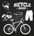 bicycle shop on blackboard - helmet bicycle vector image vector image