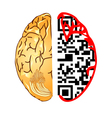 brain and qr code vector image vector image