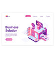 business solution isometric landing page vector image vector image