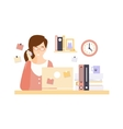 Busy Woman Office Worker In Office Cubicle Having vector image vector image