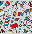 cartoon seamless pattern with barber tools vector image