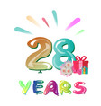 celebration card with number twenty eight vector image vector image