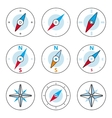 Compass and Windrose Thin Line Icons Set vector image