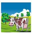 Cows in a meadow green background vector image vector image