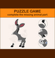 cute donkey cartoon complete the puzzle vector image vector image