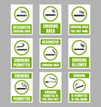 designated smoking area sign set smoking place vector image vector image