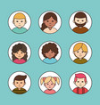 diverse group female and male cartoon round line vector image