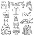 doodle of object wedding style hand draw vector image vector image
