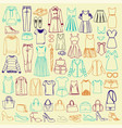 doodles of fashionable women clothes and vector image vector image