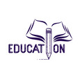 education word with pencil instead letter i vector image vector image