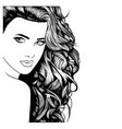 face of a model with long black hair vector image