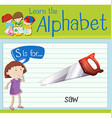Flashcard letter S is for saw vector image vector image
