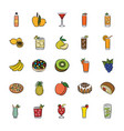 food items icons vector image
