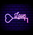 glowing neon line key in heart shape icon vector image
