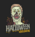 halloween massacre zombie head vector image