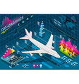 Isometric Infographic Set Elements with Airplane vector image vector image