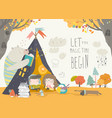 kids reading book with animals in a teepee tent vector image vector image