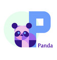 letter p - panda vector image vector image