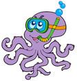 octopus snorkel diver vector image