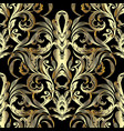 ornate gold 3d baroque seamless pattern vintage vector image vector image