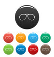 oval eyeglasses icons set color vector image vector image