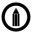 pencil icon black color in circle or round vector image