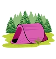pink camping tent standing on a glade vector image