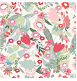 pink red and jungle flower seamless pattern vector image vector image