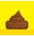 Pixel art style poo on yellow vector image vector image